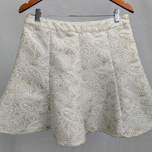 Cute n' Short Cream Paisley Flare Skirt
